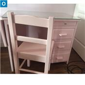 Bureau petit Minsitre et chaise rose